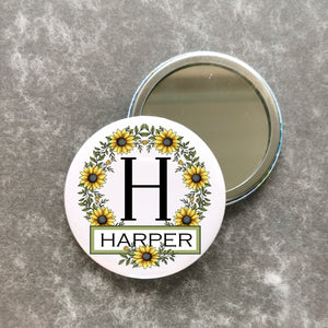 Personalised Sunflower Pocket Mirror