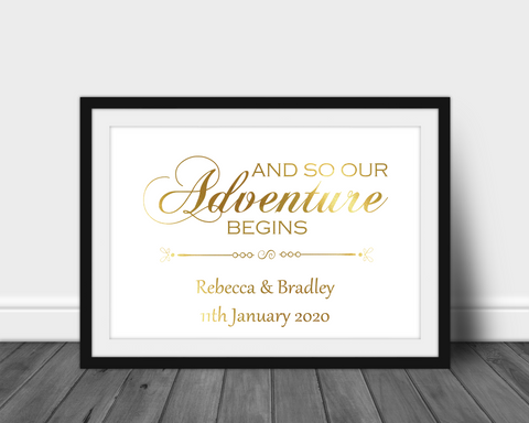 Foil Print - And So Our Adventure Begins - Personalised