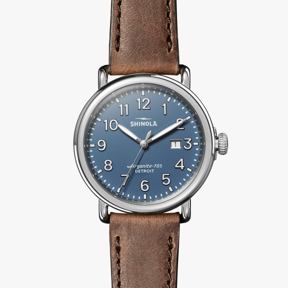 Shinola - The Runwell 47MM - Stainless Steel, Matte Blue Dial, Tan Leather Strap