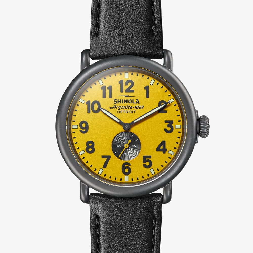 Shinola - The Runwell 47MM - Gunmetal, Maize Dial, Black Leather Strap