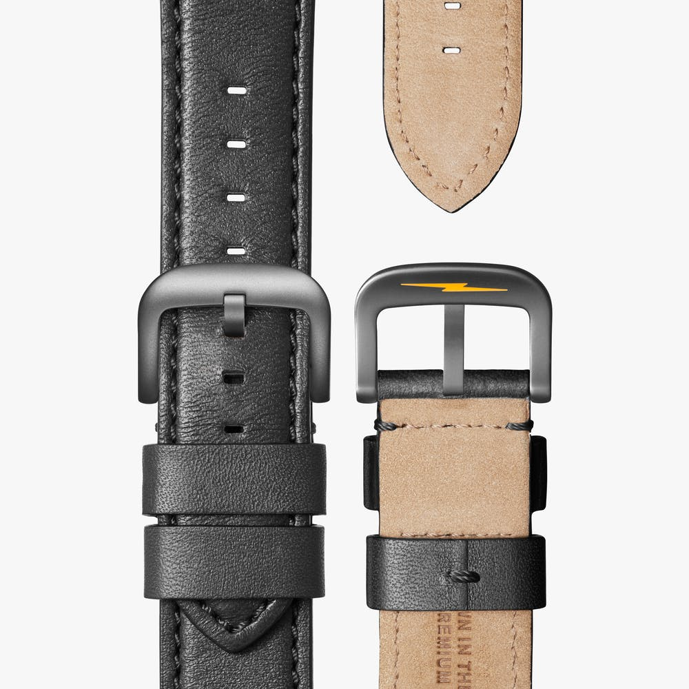 Load image into Gallery viewer, Shinola - The Runwell 47MM - Gunmetal, Maize Dial, Black Leather Strap