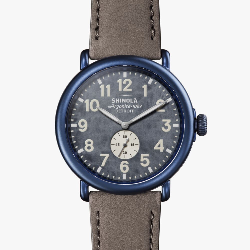 Shinola - The Runwell Sub Second 47MM - Blue Case, Blue Dial, Heather Grey Strap