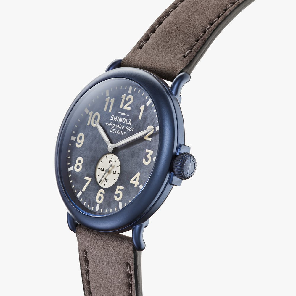 Load image into Gallery viewer, Shinola - The Runwell Sub Second 47MM - Blue Case, Blue Dial, Heather Grey Strap