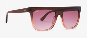 Load image into Gallery viewer, Diff Stevie Sunglasses - 'Taupe Ombre Crystal + Wine Gradient'