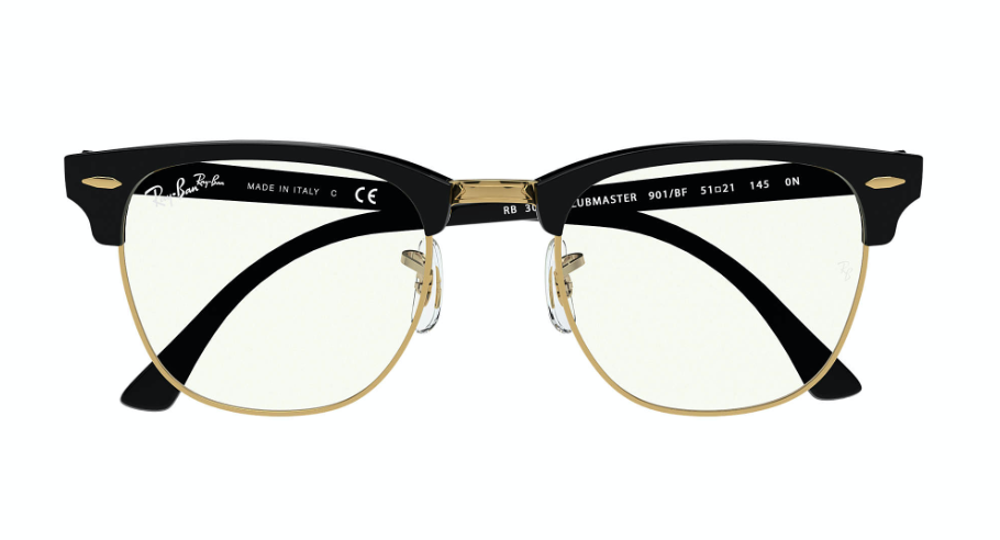 Ray-Ban Clubmaster - 'Black Gold Blue Light'