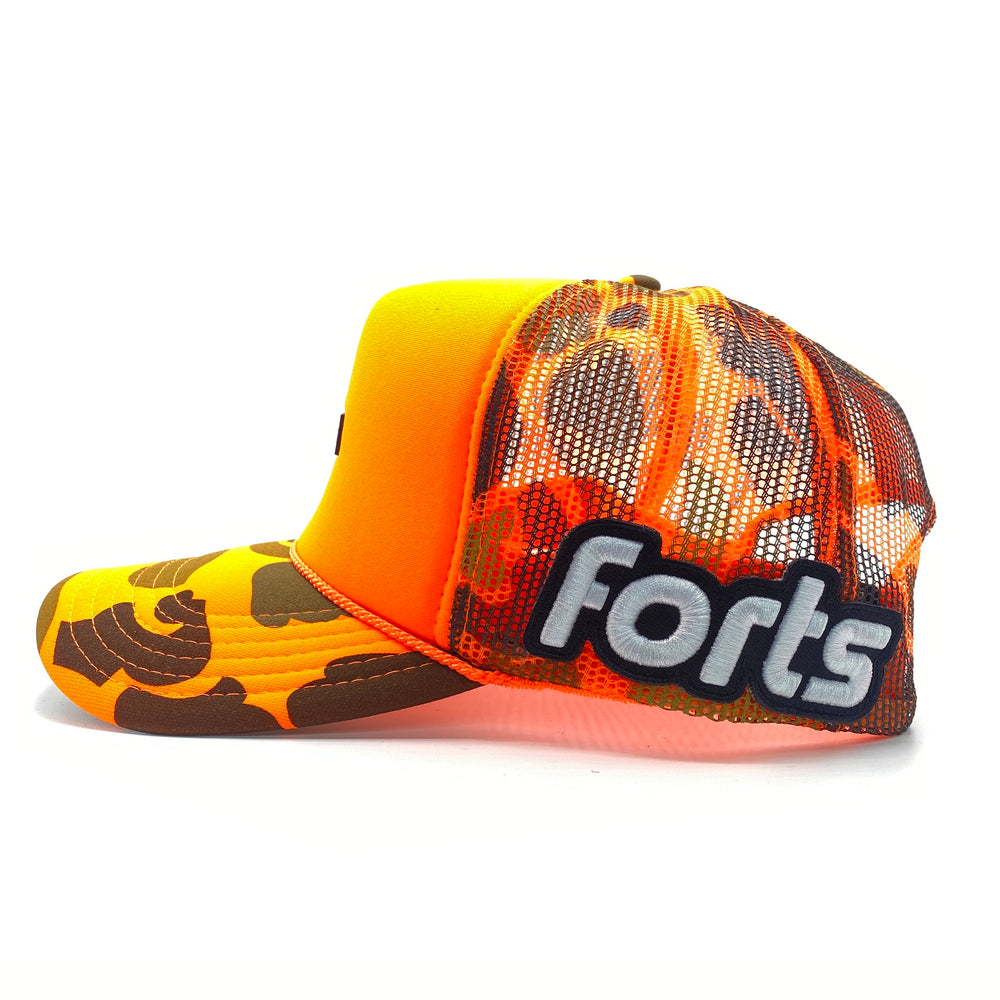 Load image into Gallery viewer, FORTS Trucker Hat - 'Blaze Camo'