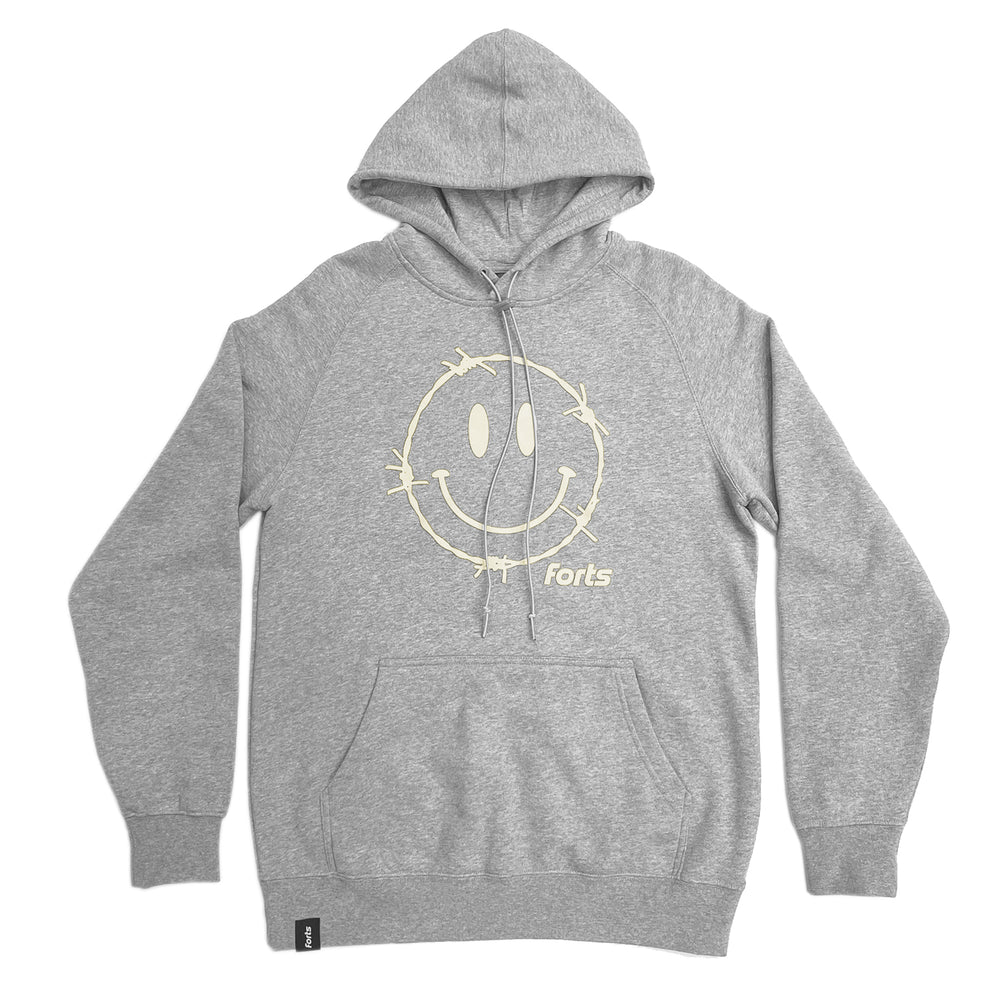 FORTS 'Barbed Wire Smiley Face' Hoodie - 'Heather Grey'