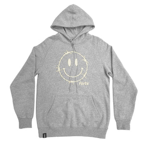 Load image into Gallery viewer, FORTS 'Barbed Wire Smiley Face' Hoodie - 'Heather Grey'