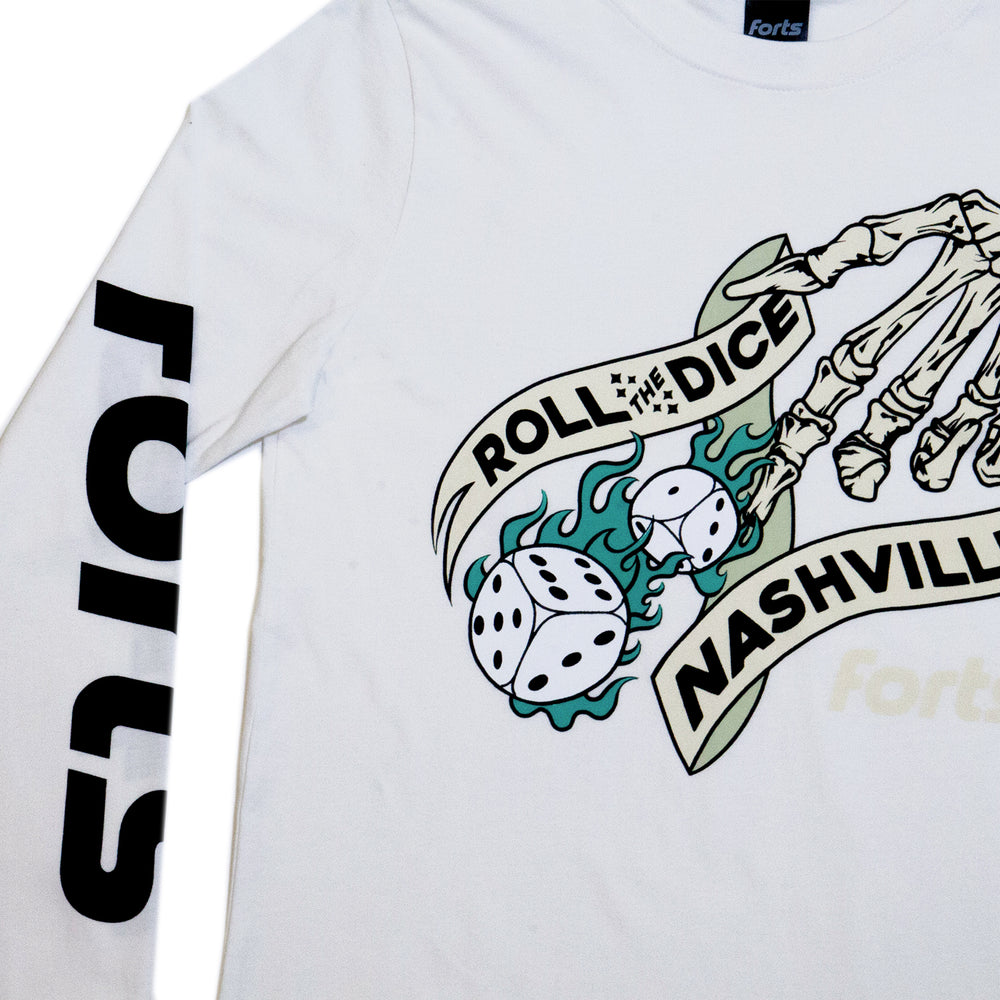 Load image into Gallery viewer, FORTS 'Roll The Dice' Long Sleeve Tee - 'Bone'