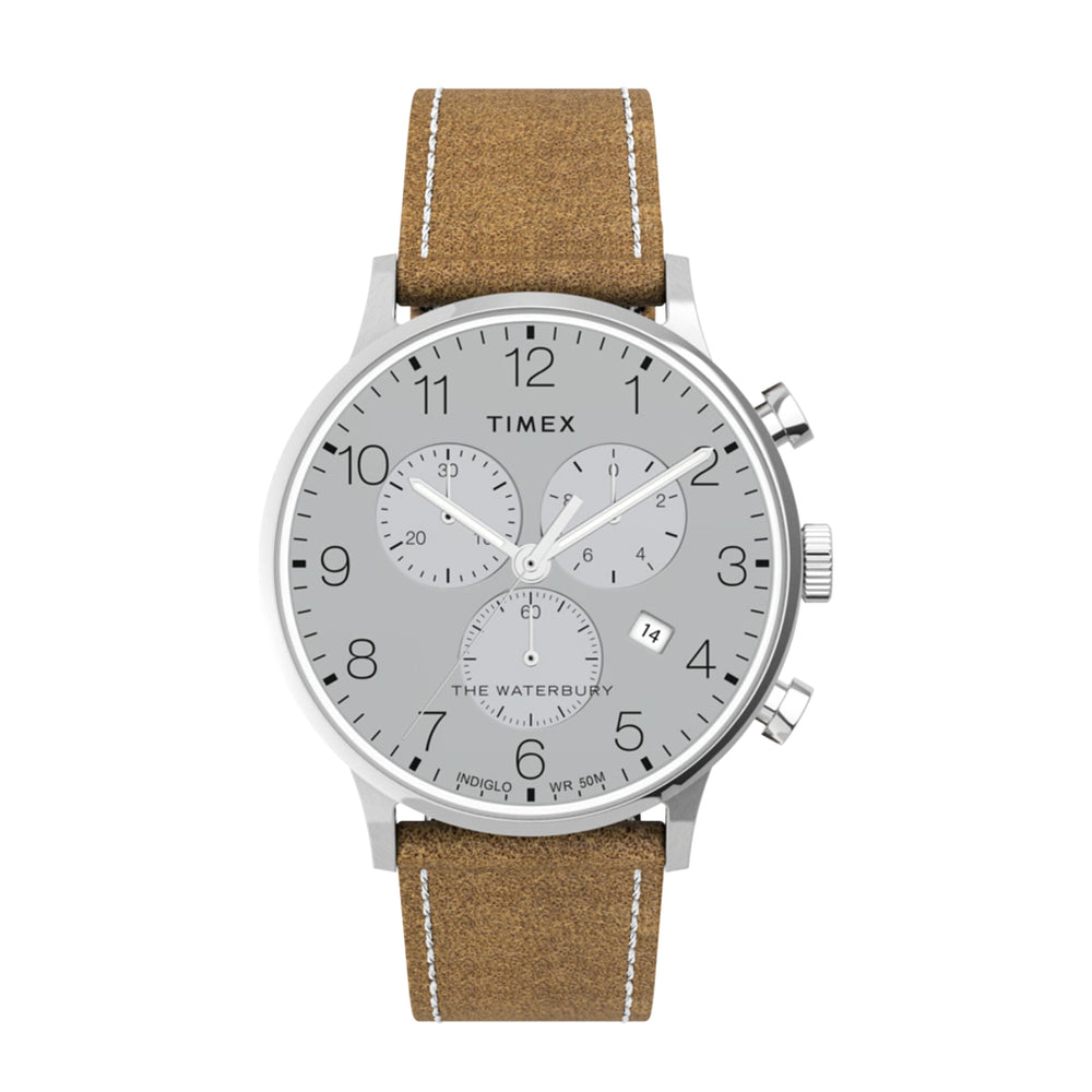 Timex Waterbury Classic Chrono 40mm Leather Strap Watch - 'Stainless/Tan'