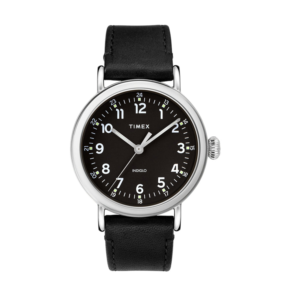 Timex Standard 40mm Leather Strap Watch - 'Silver-Tone/Black'