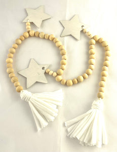 Garland - wooden star or heart and accent beads
