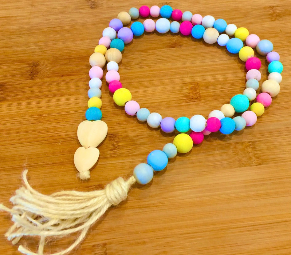 Garlands - multi coloured wood beads & wooden heart