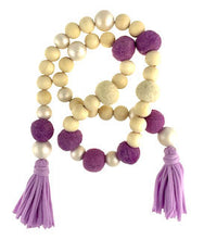 Load image into Gallery viewer, Garland - felt balls, pearl & wood beads and jersey tassels