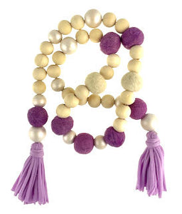 Garland - felt balls, pearl & wood beads and jersey tassels