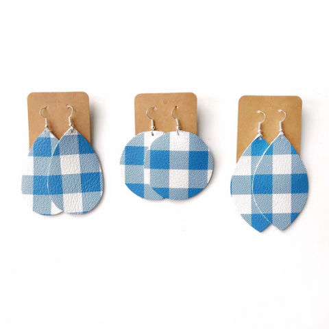Blue Plaid Leather Earrings - Styled Simplicity
