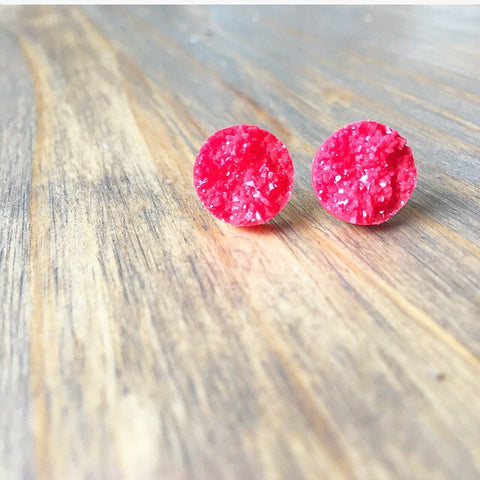 Red Druzy Earrings - Styled Simplicity