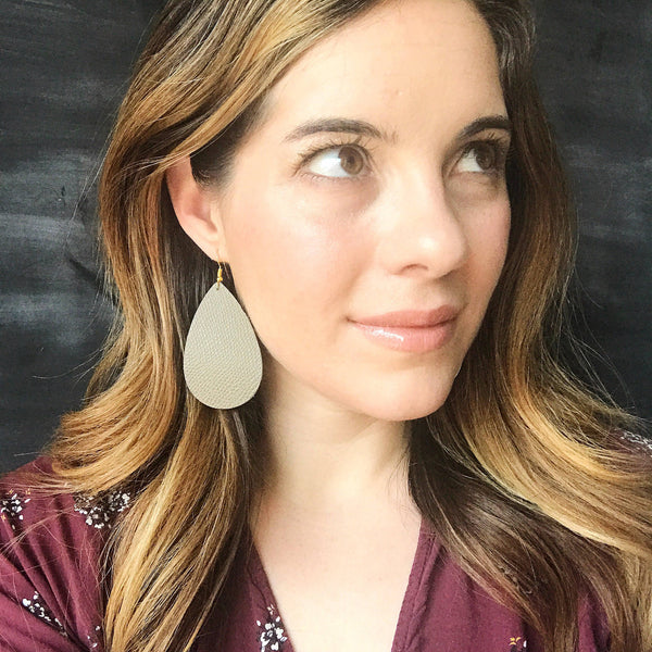 Ash Brown Leather Earring - Styled Simplicity