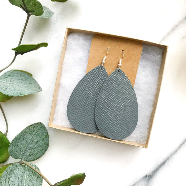 Gray Leather Earrings - Styled Simplicity