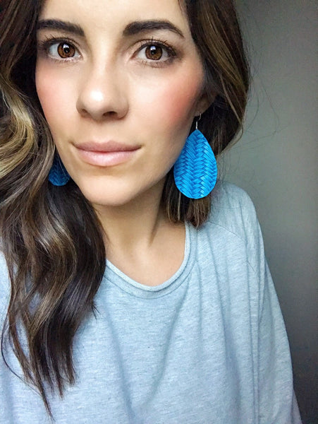 Sailor Blue Braided Leather Earrings - Styled Simplicity
