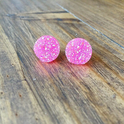 Pink Confetti Druzy Earrings - Styled Simplicity