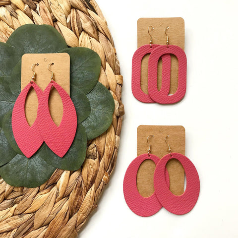 Bubble Gum Pink Leather Earrings - Styled Simplicity