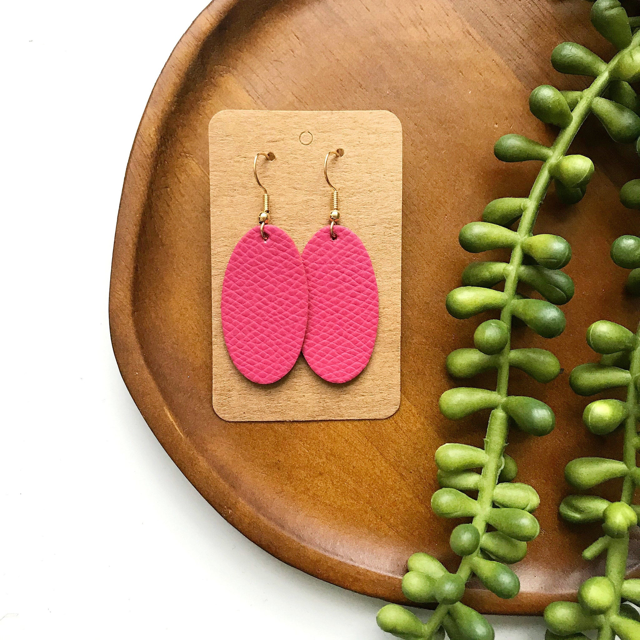 Bubble Gum Pink Mini Oval Leather Earring - Styled Simplicity