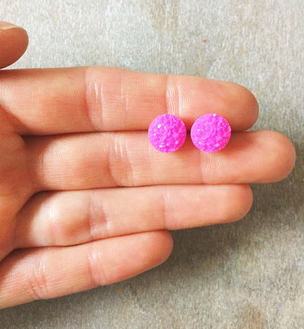 Pink Druzy Earrings - Styled Simplicity