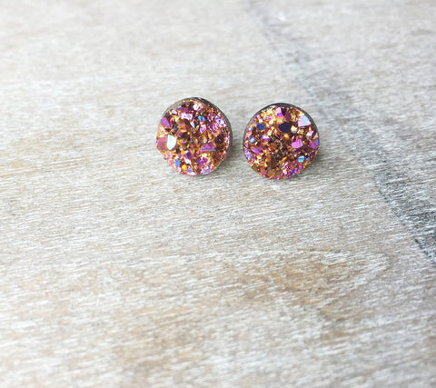 Rose Gold Druzy Earrings - Styled Simplicity