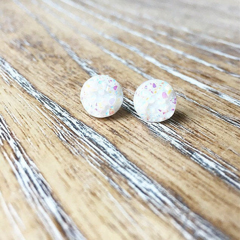 White Confetti Druzy Earrings - Styled Simplicity