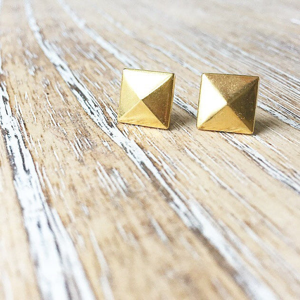 Gold Metal Rivet Earring - Styled Simplicity