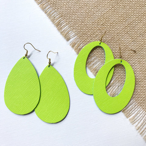 Lime Leather Earrings - Styled Simplicity
