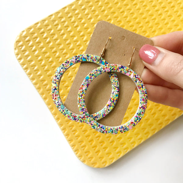 Rainbow Glitter Leather Earrings - Styled Simplicity