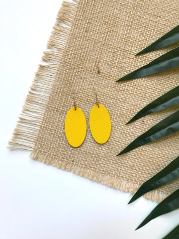 Lemon Burst Mini Oval Leather Earrings - Styled Simplicity