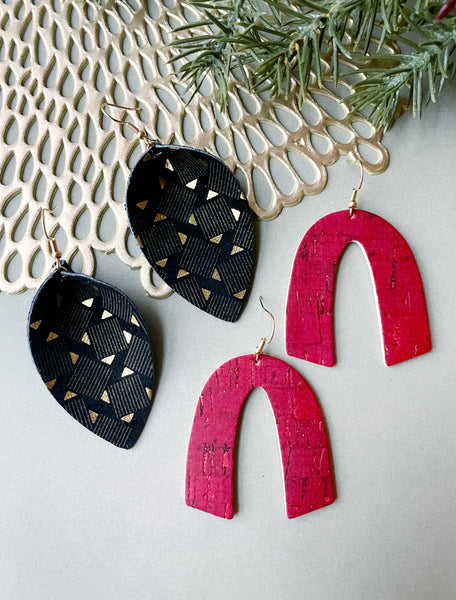 Holiday Glam Petal Leather Earrings - Styled Simplicity