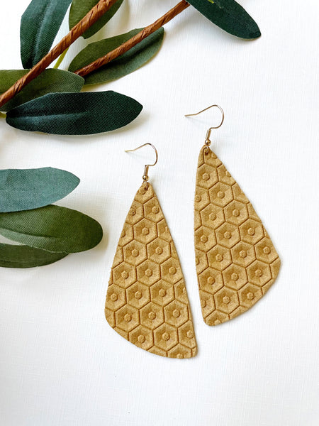 Sunrise Honeycomb Leather Earrings - Styled Simplicity