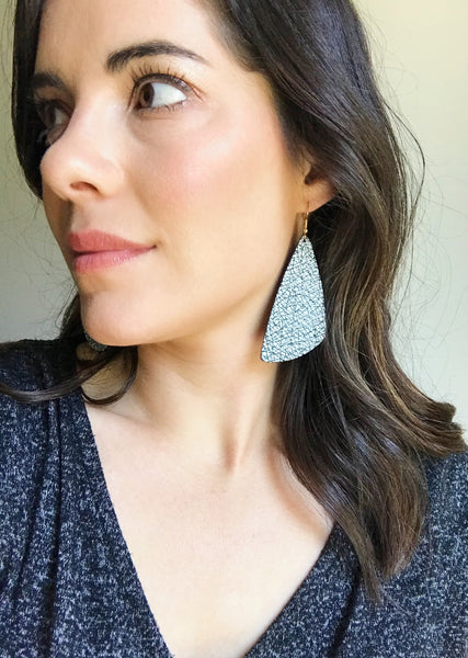 White Crackle Leather Earrings - Styled Simplicity