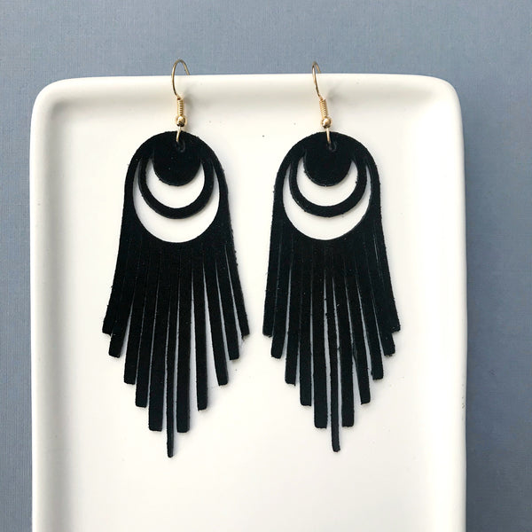 Black Suede Crescent Fringe Leather Earring - Styled Simplicity