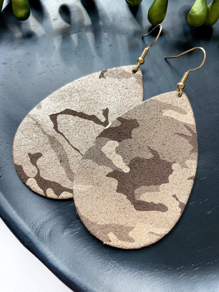 Brown Camo Leather Earrings - Styled Simplicity