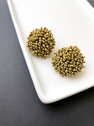 Gold Beaded Studs - Styled Simplicity