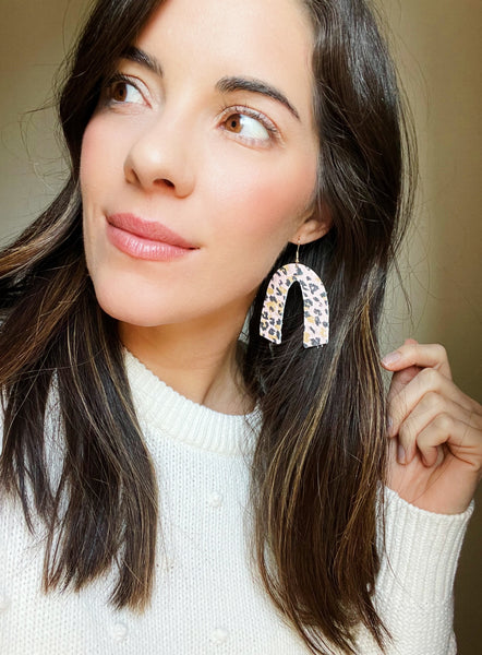Pink Leopard Leather Earrings - Styled Simplicity