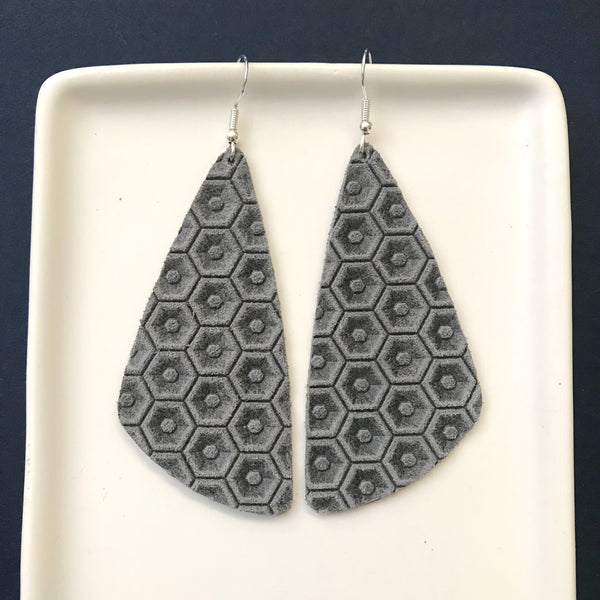 Gray Honeycomb Leather Earrings - Styled Simplicity