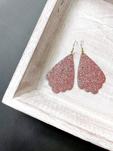 Pink Glitter Leather Earrings - Styled Simplicity