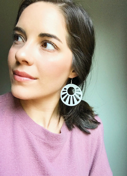 Sunburst Gray Leather Earrings - Styled Simplicity