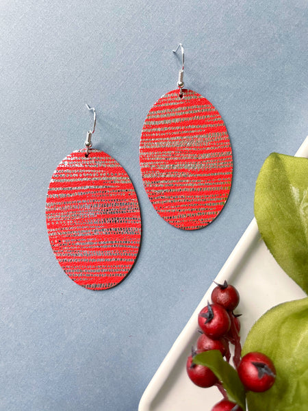 Red Tinsel Bauble Leather Earring - Styled Simplicity