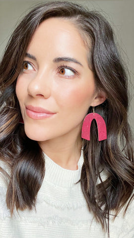 Cranberry Beau Leather Earrings - Styled Simplicity