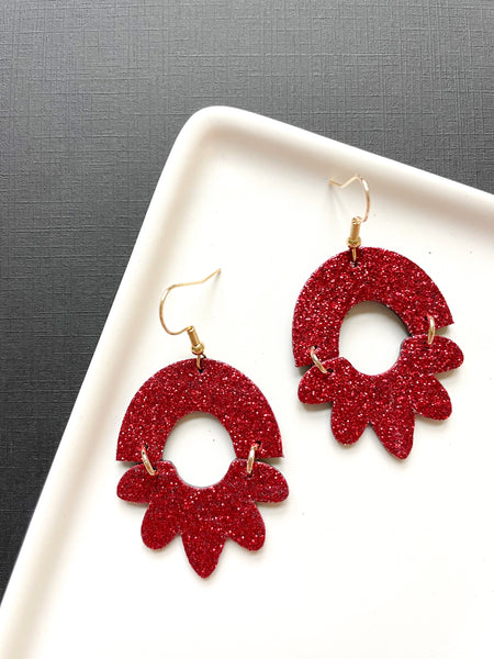 Rosie Red Glitter Leather Earrings - Styled Simplicity