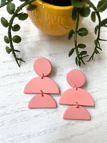 Pink Geometric Acrylic Earrings - Styled Simplicity