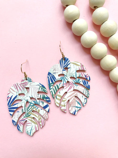 Tropical Palm Cork Leather Earrings - Styled Simplicity