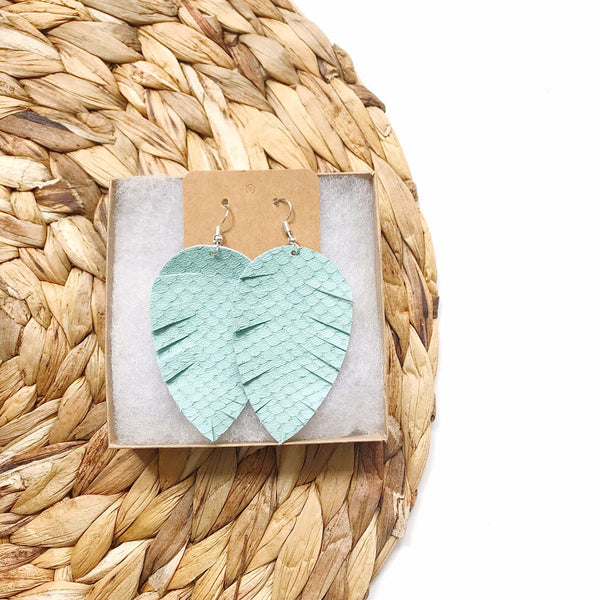 Mint Snake Fringe Leather Earrings - Styled Simplicity